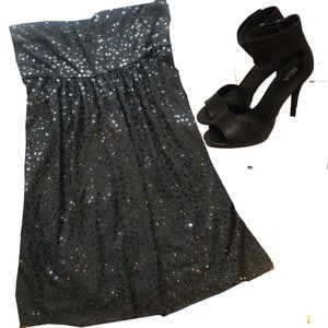 Black strapless sequin cocktail dress
